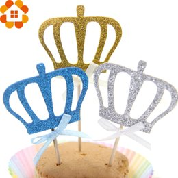 Wholesale Wholesale Cake Toppers For Kids - Wholesale- 12PCS 3Colors DIY Lovely Shiny Crown Cupcake Toppers Cakes Topper Picks For Wedding Kids Birthday Cake Baking Party Decoration