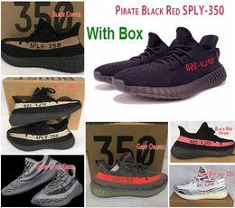 Wholesale Pvc Solar - 350 Boost V2 Wholesale 2017 SPLY Kanye West BELUGA SOLAR RED Running Shoes Grey Orange Stripes Zebra Bred Black Red With Box