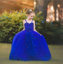 Wholesale Glamorous Flower Girl Dress - Glamorous Royal Blue Flowers Girls Dresses Cheap Sweep Train Crystals Beading Sleeveless Appliques Lace Bow Back Lace Up Back Evening Party