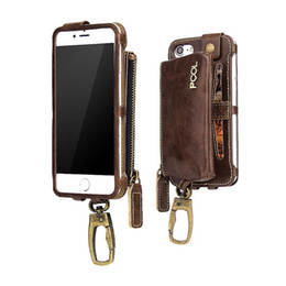 Wholesale Wallet Key Clip - Detachable Wallet Case Multi Function Zipper PU Leather Car Key Holder Hook Clip Bag For iPhone 7 6S 6 Plus OPPO R9S Vivo X9 Retail Package