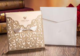 Wholesale Wedding Card Envelope Designs - New Design Rustic Gold beige Wedding Invitations Laser Cut Invitation Cards With Insert Paper Blank Card Envelope