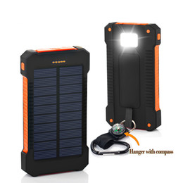 Wholesale Travel Shock - Solar Power Bank 12000mah Dual USB Portable Charger Shock drop resistance Outdoor Travel EXternal Battery Powerbank With Compass
