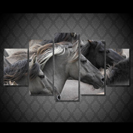 Wholesale Horse Art Canvas Set - 5 Pcs Set Framed HD Printed Wild Horse Wall Art Picture Canvas Print Decor Poster Canvas Oil Painting