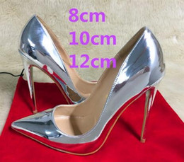 Wholesale Silver Women Wedding Shoes - 2017 New Brand 12cm Ultra-fine Pointed Toe Red Bottom Silver High-heeled Shoes Patent Leather Shallow Mouth Bridal Dress Wedding Shoes Women