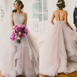 ba06a3dce2 Classy Blush Tulle Ball Gown Wedding Dresses 2017 Beaded Lace Backless  Tiered Ruffles Bridal Gowns Cheap Plus Size Bride Dress