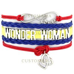 Wholesale Wonder Woman Custom - Custom-Infinity Love Wonder Woman Double Heart Charm Wrap Bracelets Blue Red Yellow Leather Custom any Themes Dropshipping