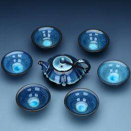 Wholesale White Ceramic Cups - China Kung Fu tea set Jingdezhen ceramic tea set Chinese tea cup good gift