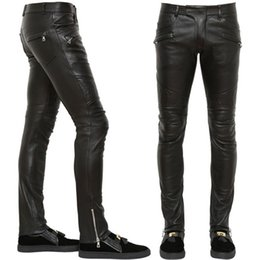 Wholesale Long Faux Leather Pants - Men Brand Name Leather Pants 2017 Top Quality Slim-Fit Style Moto Punk PU Faux Leather Long Trousers Man