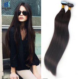 Wholesale 26 Inch Tape Hair Extensions - 16 18 20 inches Tape Hair Extensions Silky Straight Raw Virgin Indian Human Hair Thick Ends Tape in Hair Extensions
