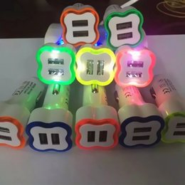 Wholesale Orange Flower Types - 2016 hot selling 2 Ports Car charger with Led lighting Flower type Dual usb 3.1A for phones table pc travel adapter 5 colors free shipping