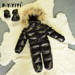 Wholesale Warm Baby Snowsuit - Winter baby snowsuit newborn warm duck down jackets 100% Real Raccoon fur hooded jumpsuit infant baby Bodysuits More colors