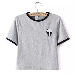 Wholesale Wholesale Alien T Shirts - Wholesale-2015 Short Sleeve Alien Crop Tops WomensPrint t-shirt Cropped top alien shirt Summer Short Tops 4XL Plus Size