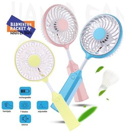 Wholesale Portable Personal Fans - New Portable Mini Rechargeable USB Fan Handheld Fan Personal Cooling Fans Flexible Badminton Racket Fan for Home, Office, Outdoor Activities