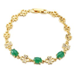 "Wholesale Unique Green Bracelet - Gemstone Yellow Gold Women Bracelet Dazzling Green Opal Unique Handmade Beautiful Wedding Gifts Links 7.5""inch BSL1000103"