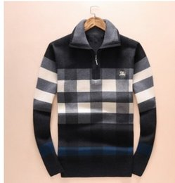Wholesale Thick Winter Shirts Men - 2017 autumn new high-end men's brand T-shirt fashion Autumn and winter new long-sleeved sweater men fashion sets of lapel checkered sweaters