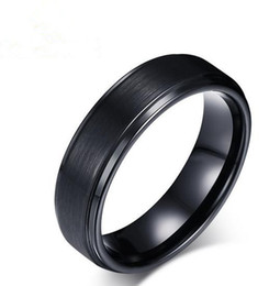 Wholesale Tungsten Solitaire Rings - New tungsten steel men's ring fashion simple black tungsten steel ring