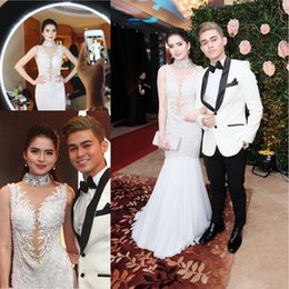 Wholesale Gathered White Lace - Annual Gathering Beaded Crystal Evening Dresses 2017 Red Carpet Celebrity Dress New Gorgeous Party Prom Formal Dresses Deep V Neck