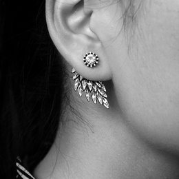 Wholesale Cool Feather Earrings - Vintage Gothic Angel Wing Alloy Stud Earrings Cool Black Antique Silver Color Feather Earrings for Women Men Fashion Jewelry