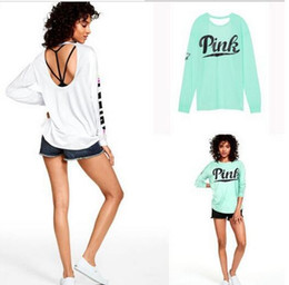 Wholesale Slim Woman Pink Shirt - 2017 Brand New Summer Fashion Women PINK sweatshirt tshirts pullover Tops Tees Print Letter long sleeve T Shirt Slim Harajuku Tshirt