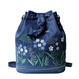 Wholesale Little Buckets - Fresh Little Flowers Stitchwork Literary Japan South Korea Style Oxford Women's Single Shoulder Backpack Bag Drawstring Female Daily