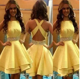 Wholesale Girl Strips Dress - 2017 Fashion simple cocktail Dress sash beading backless criss cross strip short stain Homecoming Dresses and Graduation Girls Custom Made