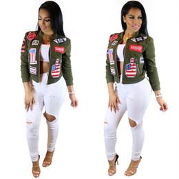 Wholesale Embroidered Patches Letters - Wholesale- women bomber jacket 2016 female coat flight suit casual jacket women coat embroidered patch women jacket coat jaqueta feminina