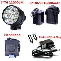 Wholesale Dc Bike Battery - Bike LED Bicycle Light Lamp HeadLight 11000 Lumen 7 *CREE XM-L T6 LED Super bright Waterproof Aluminum alloy+10800mah battery pack+DC Charge