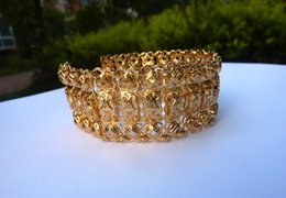 Wholesale Party Super - SUPER BIG 24K Real Yellow Solid Gold GF Lasting Nugget WOMEN AND MEN'S Wide 25mm Bracelet Jewelry exaggerate FREE SHIPPING