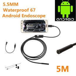 Wholesale Usb Cams - 2017 Android Endoscope Camera 5.5mm 5m Usb Endoscopes Ip67 Waterproof with 6 Led Hd 480p Inspection Borescope Tupe Cam