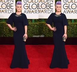 Wholesale Pink Kelly - Hot Sale 72nd Golden Globe Kelly Osbourne Half Sleeve Crystal Modern Prom Party Long Celebrity Dresses Navy Blue Plus Size Evening Gowns