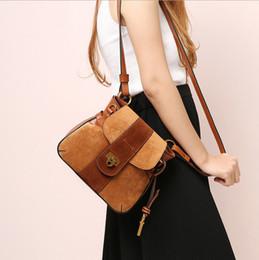 Wholesale Saddle Bag Blue - Nubuck Leather Bags Saddle Bag with Lock Closure New Arrival Vintage Patchwork Shoulder bag for Women
