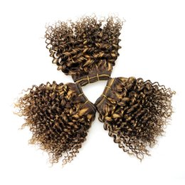 Wholesale Hair Extensions Light Blond - Curly Bob Hair Sew In Hair Extension Double Drawn Weft F4# 27# Ombre Brazilian Hair Light Brown To Honey Blond Kinky Curly Weave