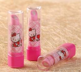 Wholesale Eraser Lipstick Rubber - Lipstick Shape Rotary Rubber Eraser Kawaii Stationery Children Stundent Prize Hello Kitty Fruit Cartoon Style Erasers Office School Supplies