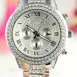 Wholesale Lady Watches Silver Gold - Luxury Brand K0RS Watches Womens Diamonds Watches Brand Date 3 Eyes Women Bracelet Ladies Designer Wristwatches 3 Colors Free Shipping