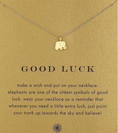 Wholesale Good Luck Elephant - With card! Silver and gold color cute Dogeared Necklace with elephant pendant(good luck elephant), no fade, free shipping and high quality