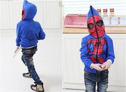 Wholesale Spiderman Sweatshirt - Boys Spiderman Jacket 4 To 15 Age Boy Outwear Spiderman Spring 2015 New Cartoon Baby Long Sleeve Hooded Zipper Jacket Kids Sweatshirt