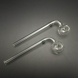 Wholesale Curved Tubes - 15cm Curved Glass Oil burners Pipes glass bong with blue green amber pink colors balancer glass water pipe tube for smoking