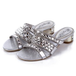 Wholesale Sheepskin High Slippers - 2016 Summer New Silver Diamond Roman Women Shoes Sheepskin Slipper Rhinestone Sandals High Quality 06Z