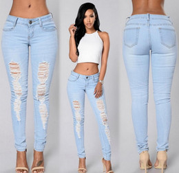 jeans stretch a forma di ragazza jeans casual denim pantaloni jeans legging sfrangiati buche street wear 5 formati 2 colori da