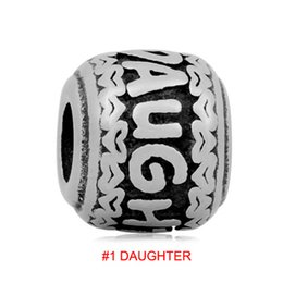 Wholesale pandora daughter bead - comejewelry Supernatural Fit for Pandora Stainless Steel Beads European Style DAUGHTER, MUMMY,GRANDMA,GOOD LUCK,DREAM BIG for Jewelry Making