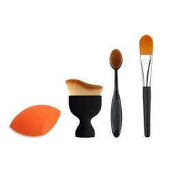 Wholesale Large Powder Puffs - 4pcs lot Makeup Brush Kit Combine Large Powder Foundation Brush&Oval Toothbrush Makeup Brush&Concealer Brush&Powder Puff Sponge Set