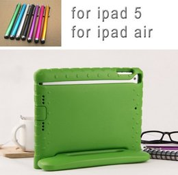 Wholesale Child Kid Ipad Case Cover - New Drop Shock Proof Cover For Apple iPad Air 1 Cases Kids Children Safe EVA Silicon for iPad 5 Protective Cases +Stylus