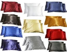 Wholesale Duvet Wool - Wholesale- 2pc New Queen Standard Silk~y Satin Pillow Case Multiple Colors