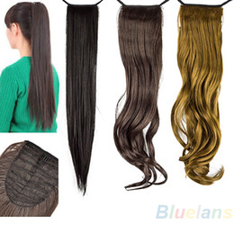 Wholesale Long Wavy Clip Extensions - Wholesale- Long Lady Wowen Wavy Claw Clip Ponytail Pony Tail Hair Extension