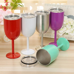 Wholesale Goblet Metal - 10 oz Tumbler Wine Goblet Mug Cup Stainless Steel Metal cup with Lid Insulated Colorful Wine Glasses Tumbler Mug KKA1651