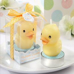 Wholesale Duck Favors - Yellow Duck Love Candles Gift Box Packing Smokeless Candles Souvenirs Baby Shower Gift Favors Baby Birthday Party Decoration