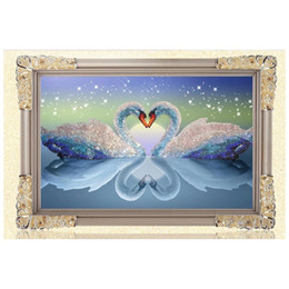 Wholesale Paint Drawings - 5D DIY Diamond Painting Kits Round Rhinestone Draw Diamond embroidery Animals Swan Cross Stitch Kit Mosaic Picture Swans in Love