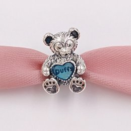 Wholesale Enamel Jewelry Wholesale - Authentic 925 Sterling Silver Beads Duffy With Blue Enamel Charms Fits European Pandora Style Jewelry Bracelets & Necklace 792129EN128