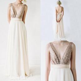 b3f51304a9 China 2017 Sexy Golden Bridesmaid Dresses Long Chiffon Sequin Backless Deep  V Neck Wedding Bridesmaid Gowns