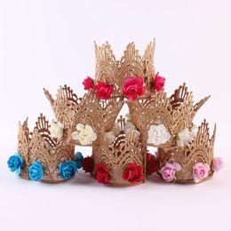 Wholesale Flower Rose Belt - 2017 new girl lace crown head with rose flower belt princess headdress hair ornaments gift box